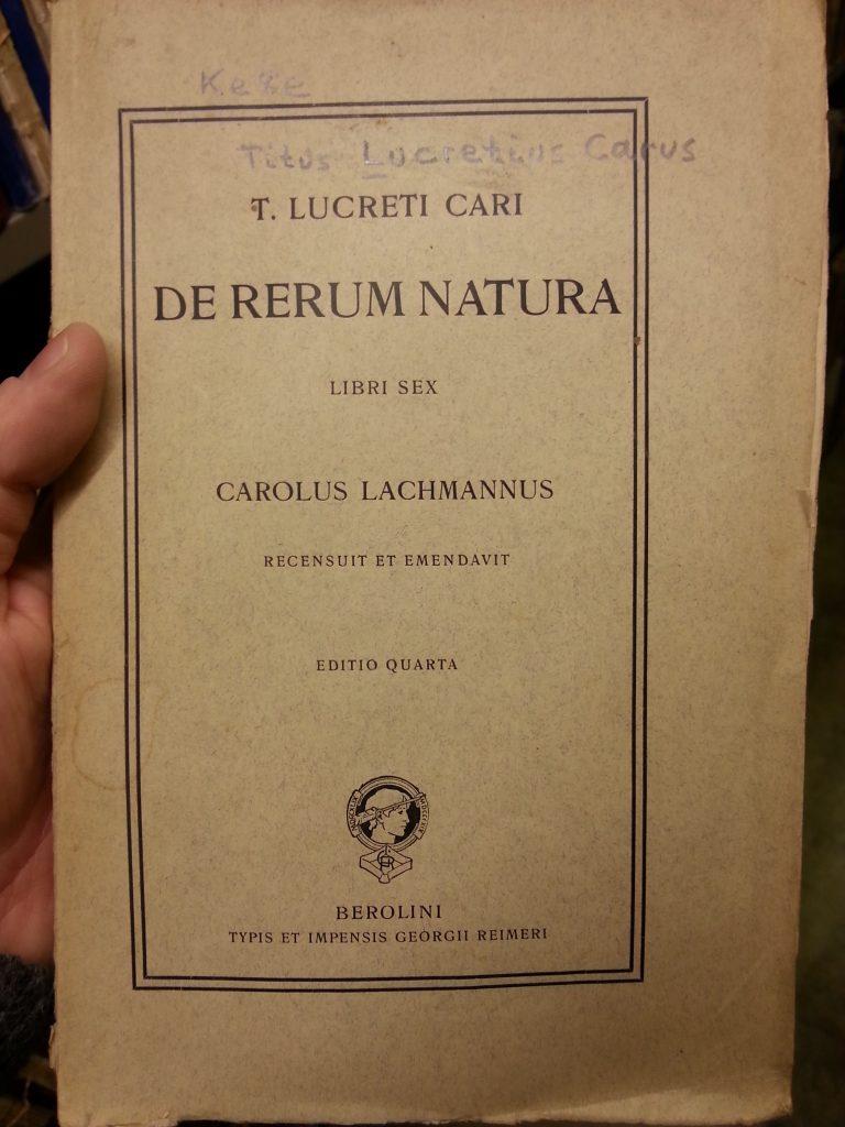 Karl Lachmanns tekstkritiske utgave av De Rerum Natura