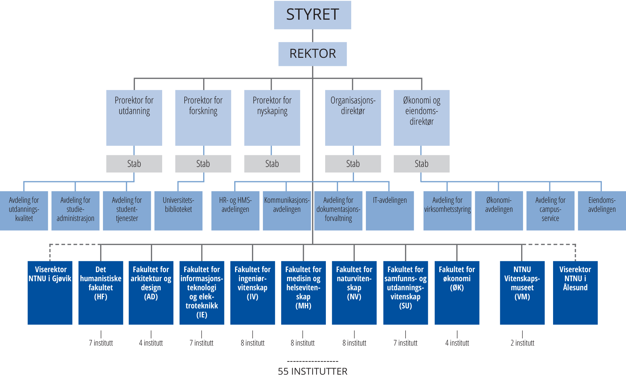 NTNU organisasjonskart 2021