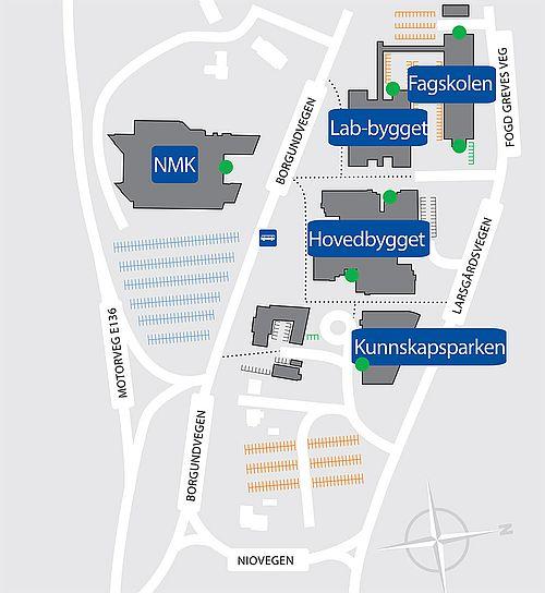 Kart over NTNU i Ålesund