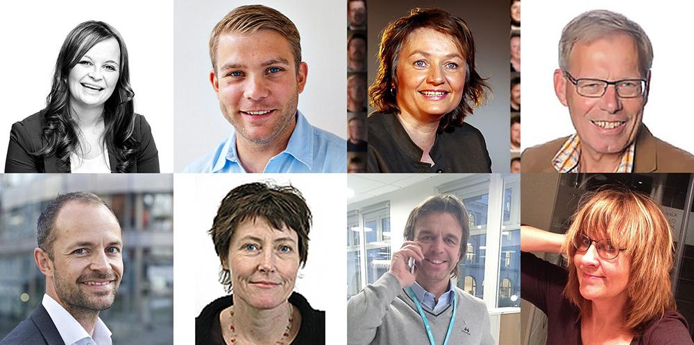 Arbeidsgivere - bildercollage av ulike mennesker.