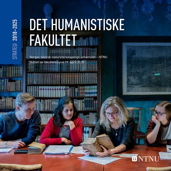 Forside strategidokument, med bilde av lærer og studenter som studerer en gammel bok i et flott bibliotek