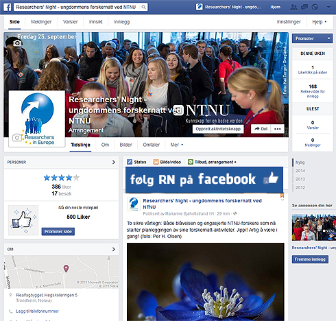 Besøk Researchers' Night sin Facebookside!