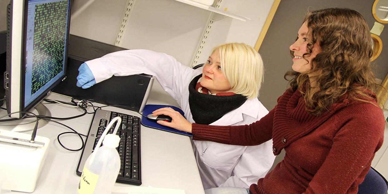 To studenter ser på en PC-skjerm. Foto.