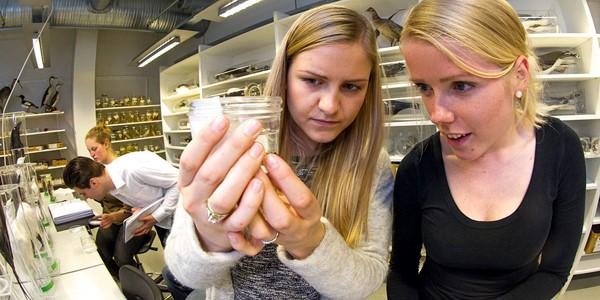 To studenter ser på innhold i et glass. Foto