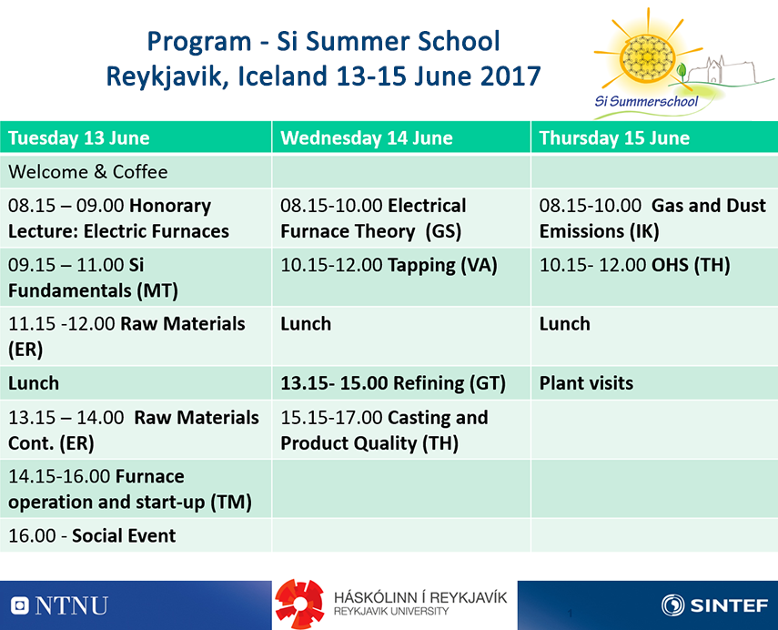 Program - Si Summer School Schedule 2017