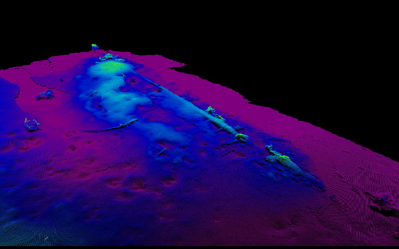 Minerva sonar image of the Munkholmen wreck (topo view_col) at Trondheim harbour - late 17th-early 18th century. Photo: NTNU AURlab