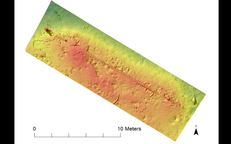 Minerva sonar image of the Munkholmen wreck (col) at Trondheim harbour - late 17th-early 18th century. Photo: NTNU AURlab