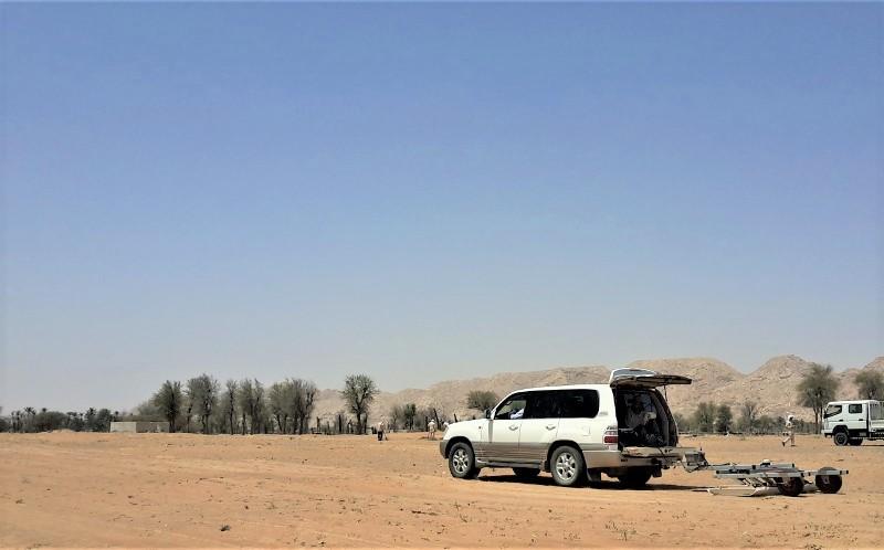 GPR Survey Late Pre-Islamic site as Mleiha (UAE). Photo: Carmen Cuenca-Garcia / NTNU Vitenskapsmuseet