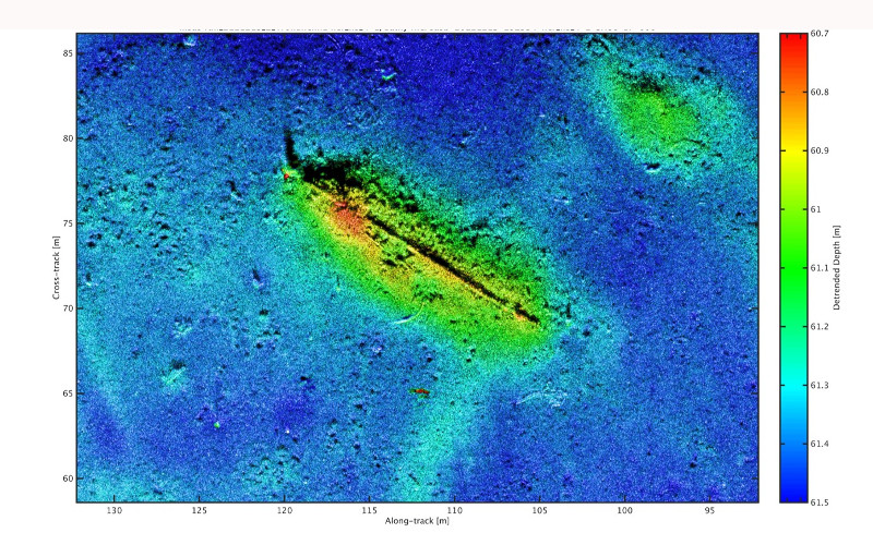 Hugin sonar image of the Munkholmen wreck (SASB data) at Trondheim harbour -_late 17th-early 18th century. Photo: FFI / NTNU AURlab