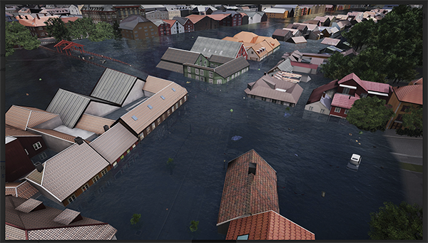 Illustration of Trondheim under water made by NorConsult/Baezeni