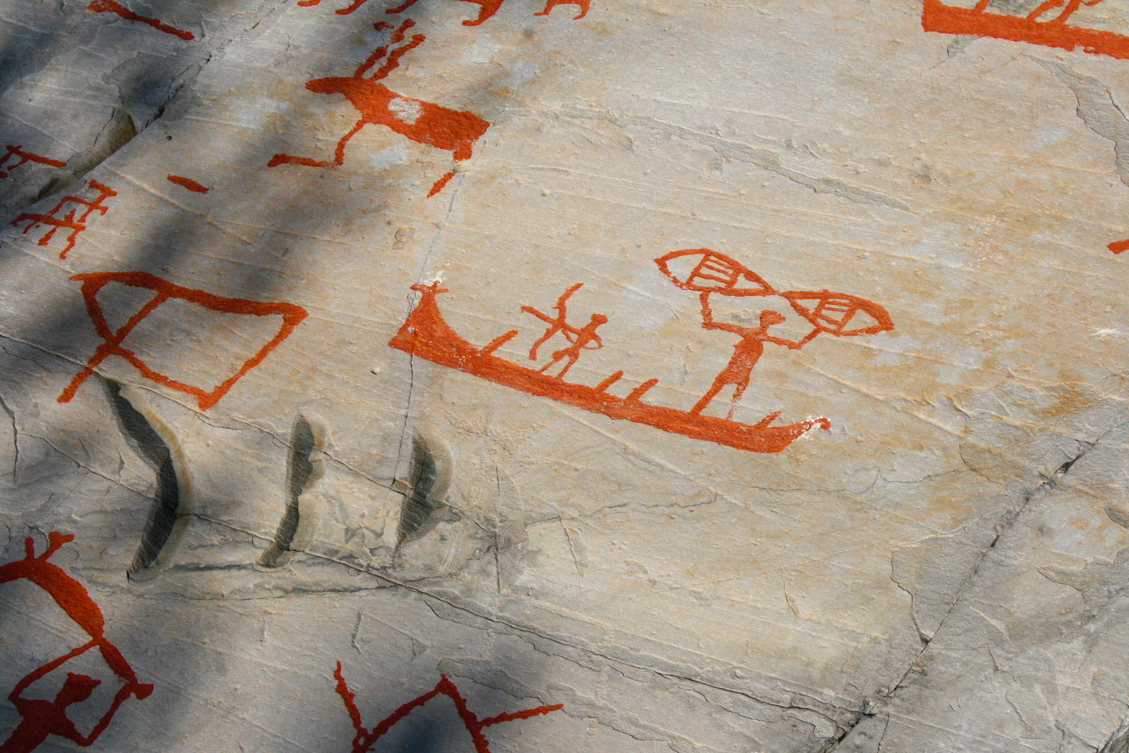 Marine hunter gatherers. Rock carving from Alta, Northern Norway. Photo: Ahnjo, Wikimedia commons