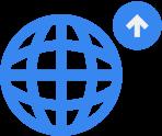 Ikon forskningsstøtte: symbol for globus med pil opp