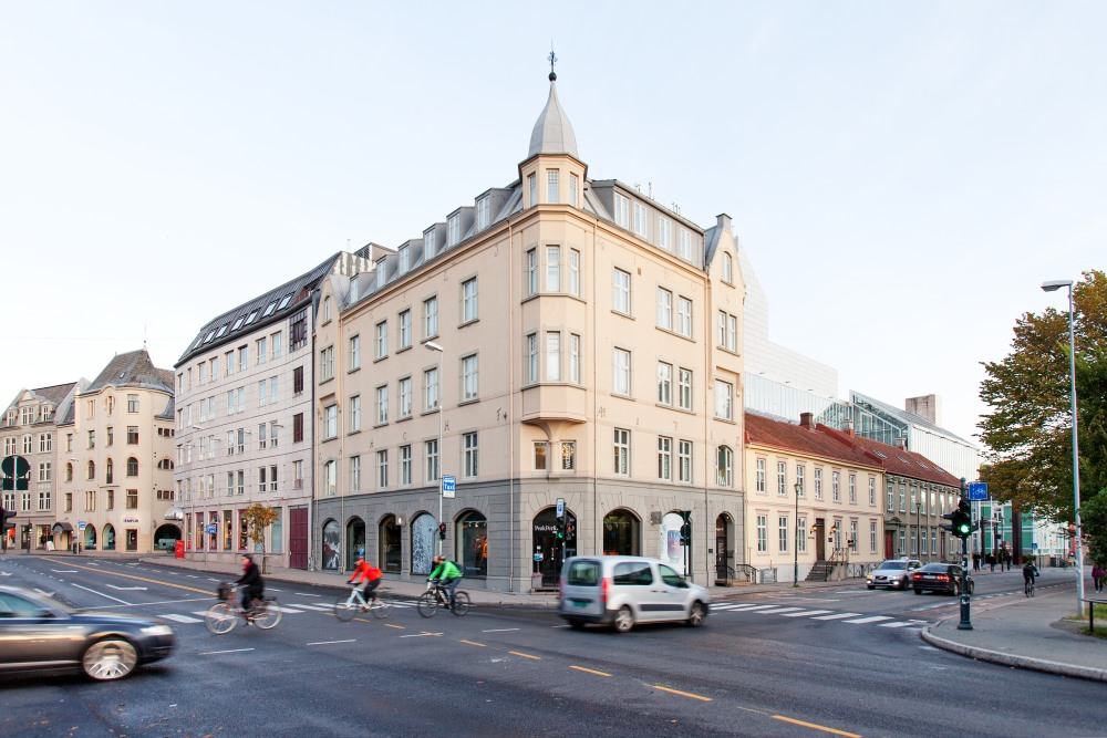 Fasadebilde av bygning som musikkbiblioteket ligger i. Foto