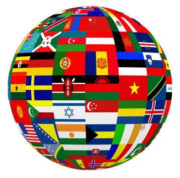 Jordklode med flagg