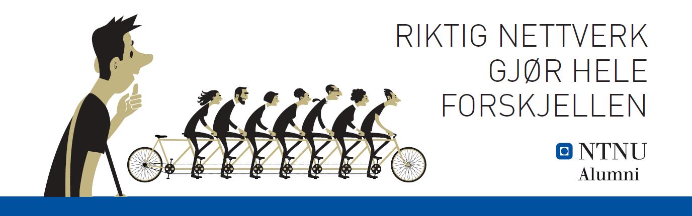 NTNU Alumni grafisk bilde med syklist og logo