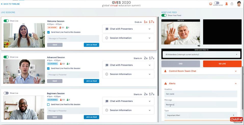 skjermbilde som viser administrasjonsgrensesnittet i OnAir
