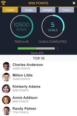 skjermbilde som viser gamification i EventsAir-appen