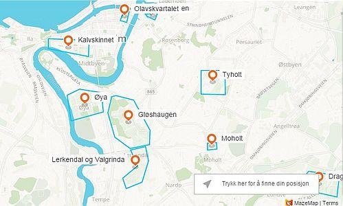 Kartutsnitt Trondheim