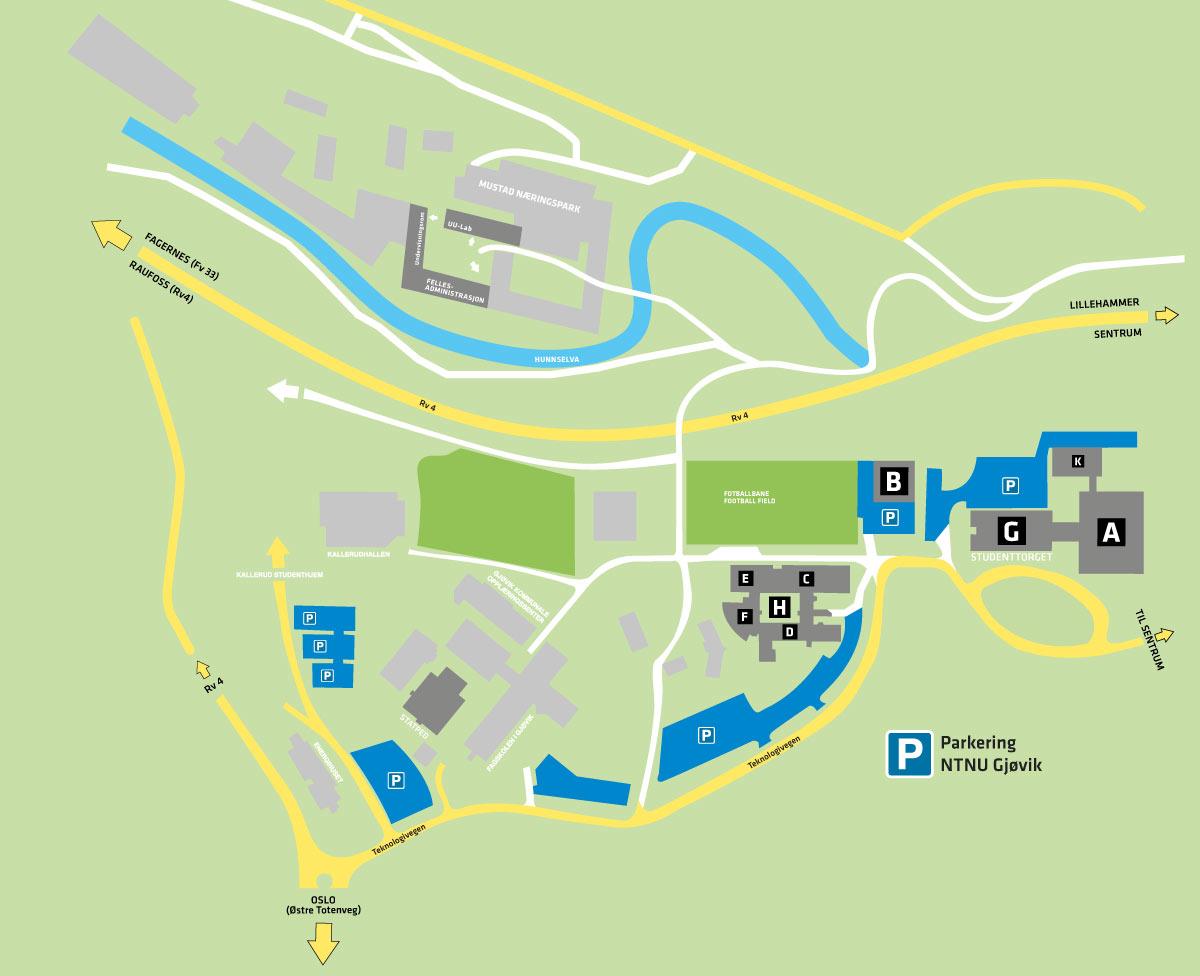 Parkeringskart NTNU i Gjøvik. Illustrasjon.