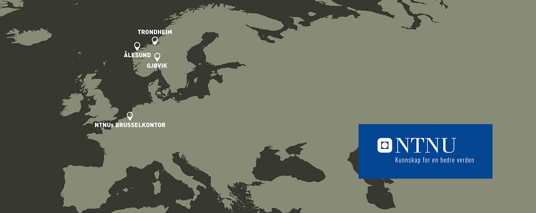 Kart: NTNUs campuser i Trondheim, Gjøvik og Ålesund og NTNUs kontor i Brussel