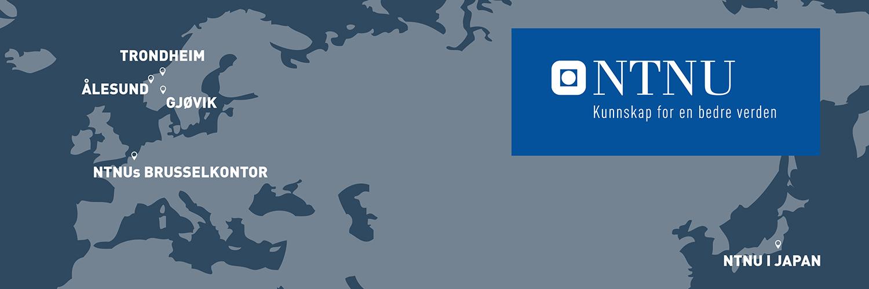 Kart: NTNU i Trondheim, Gjøvik, Ålesund, Brussel, Japan