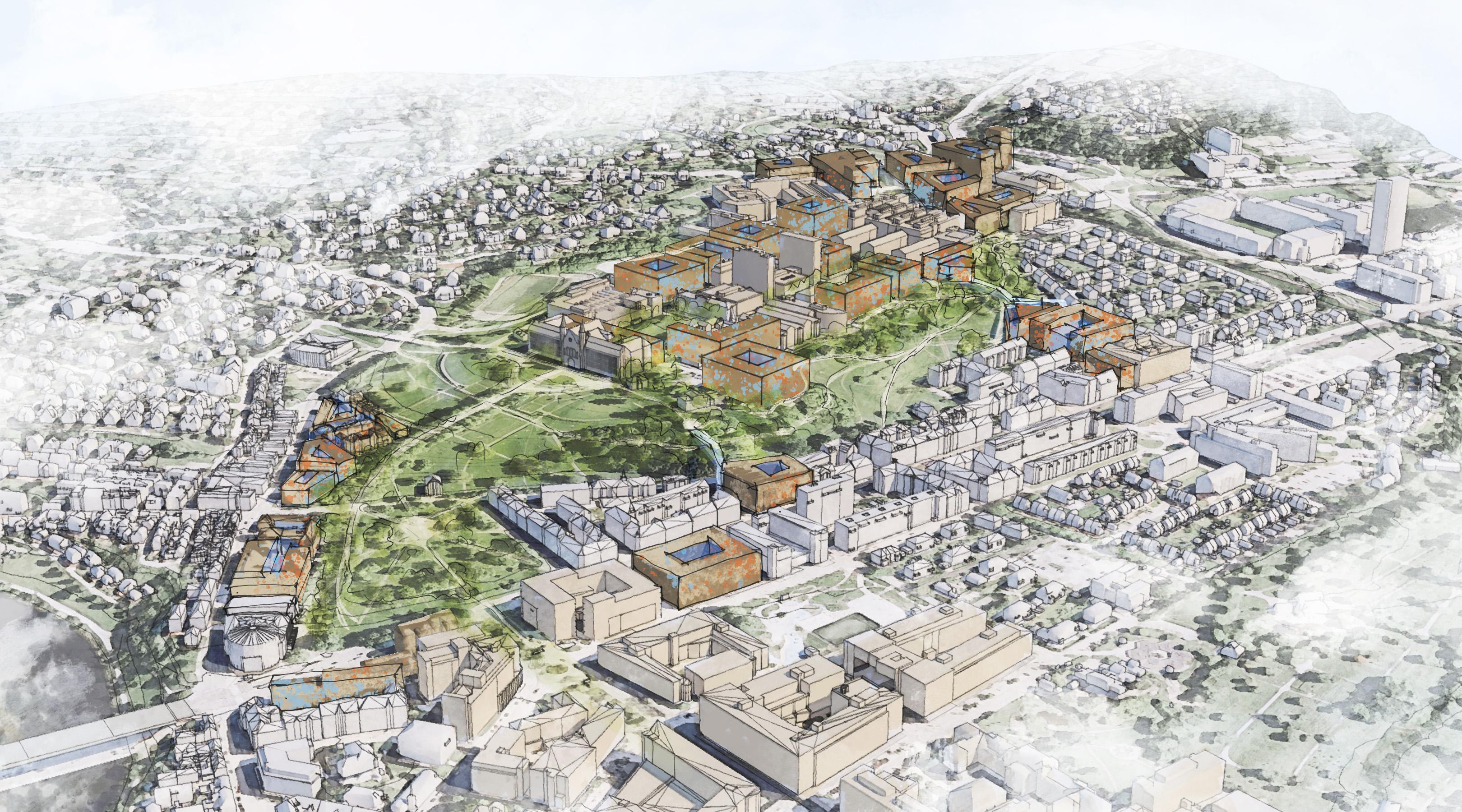 Illustrasjon som viser potensielle tomter for nye universitetsbygg på og rundt Gløshaugen.