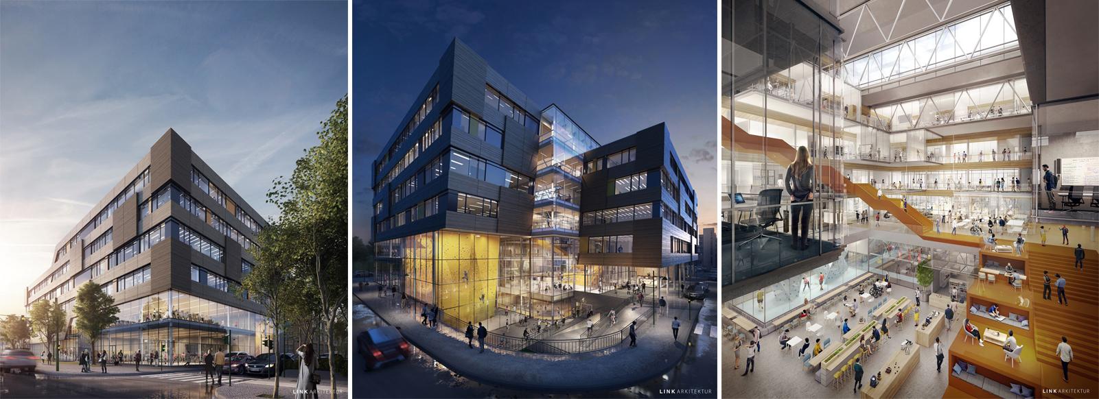 Collage med tre illustrasjoner av bygget i Elgesetergate 10 av Link arkitektur.