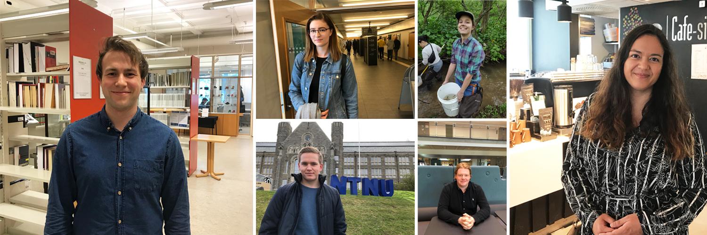 Callage av studenter som viser frem sine favorittplasser på Gløshaugen.