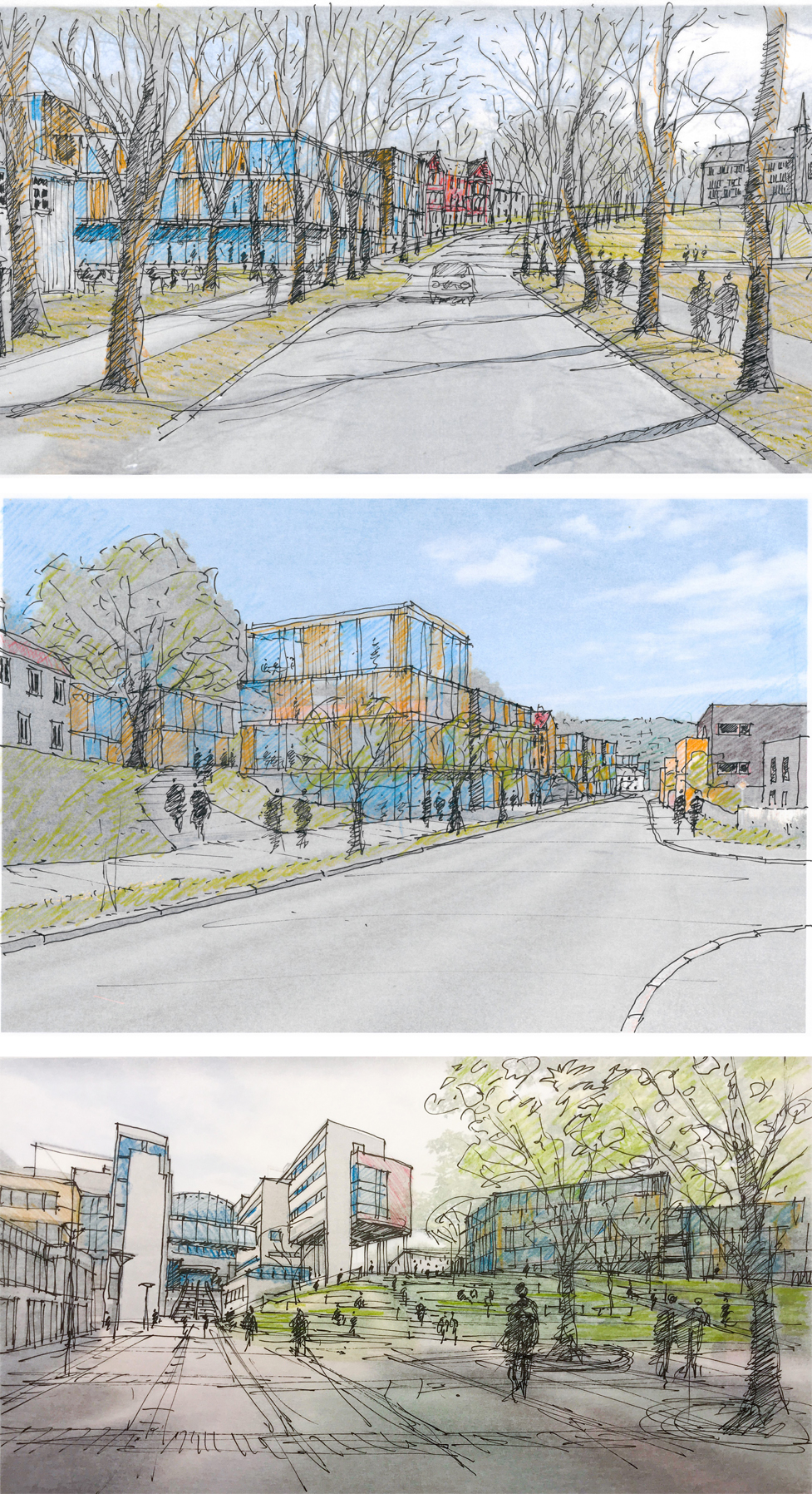 Collage with three sketches of potential new university buildings on Gløshaugen.