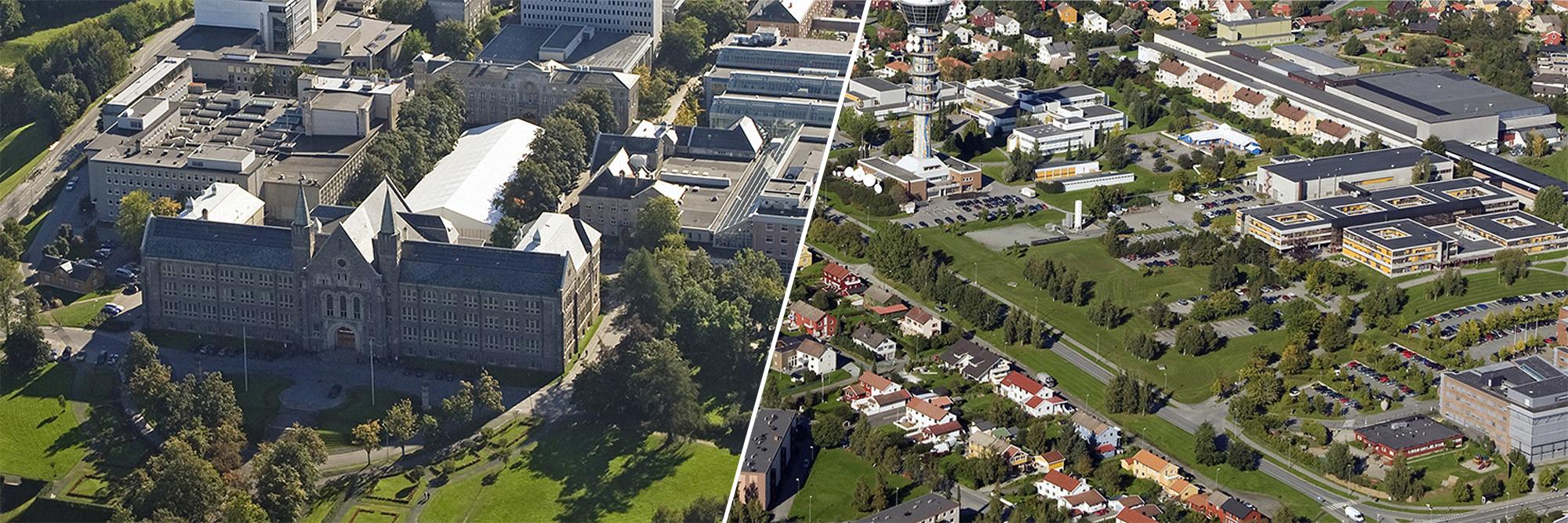 Collage av Hovedbygningen NTNU og Ocean Space Centre