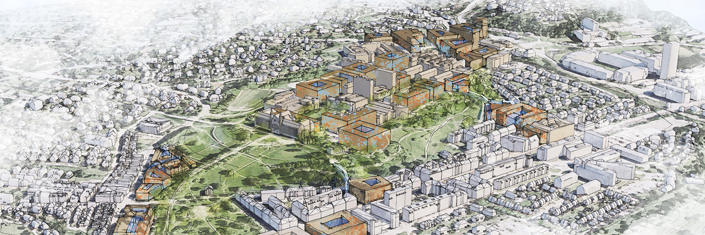 Illustrasjon av potensielle tomter for nye universitetsbygg