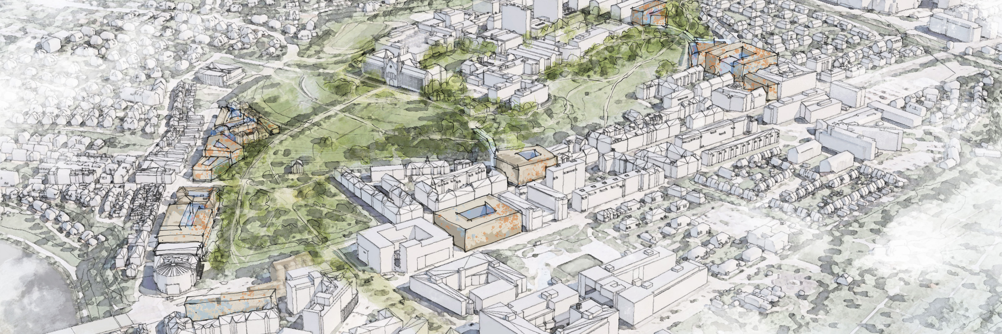 Illustration from the feasibility studies around Gløshaugen. (Illustration: Eggen Arkitekter)