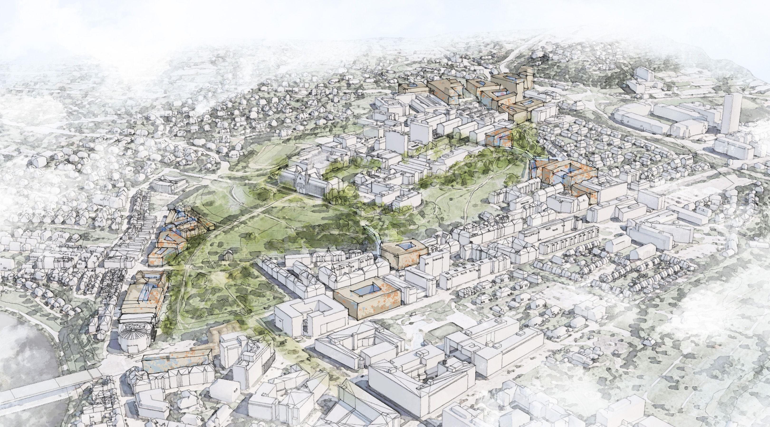 Sketch of overview of Gløshaugen with potential areas for new university buildings.