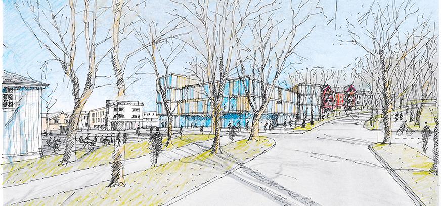 Tegnet skisse med perspektiv fra Høgskolevegen ved Vollan gård mot Hovedbygget