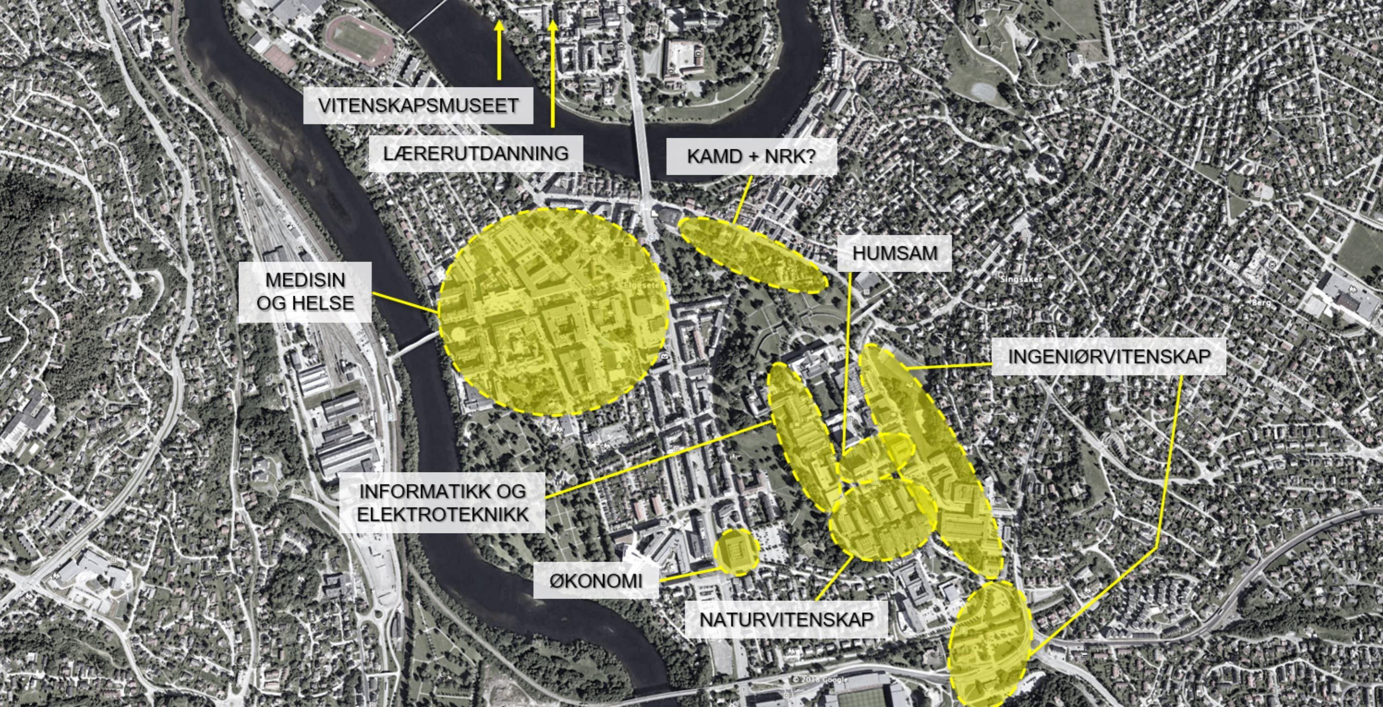 Illustrasjon over plassering av faglige klynger når campus i Trondheim samles.