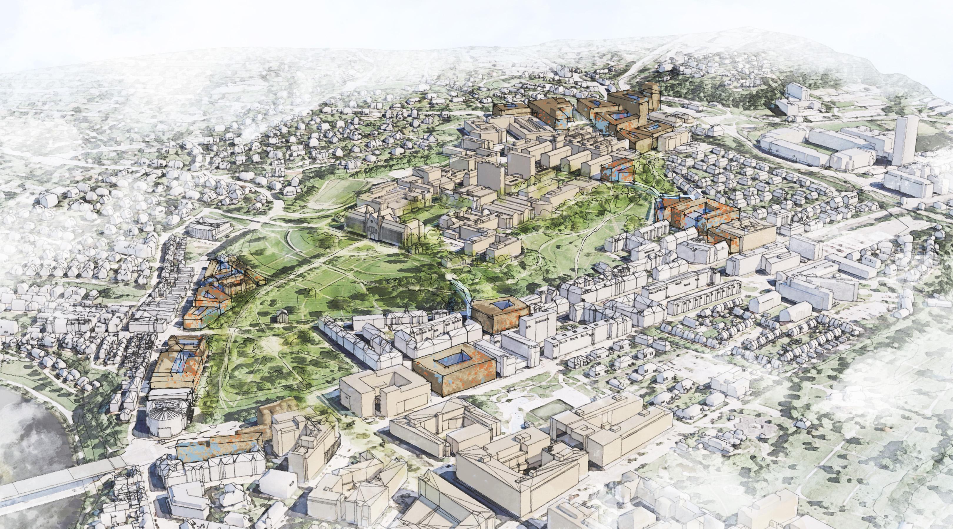 Illustrasjon med tegnet flyfoto av Gløshaugplatået, med uthevede potensielle tomter for nye universitetsbygg.