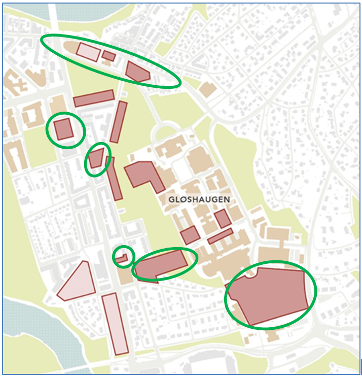 Map of the area around Gløshaugen with rings around specific areas to be explored further.