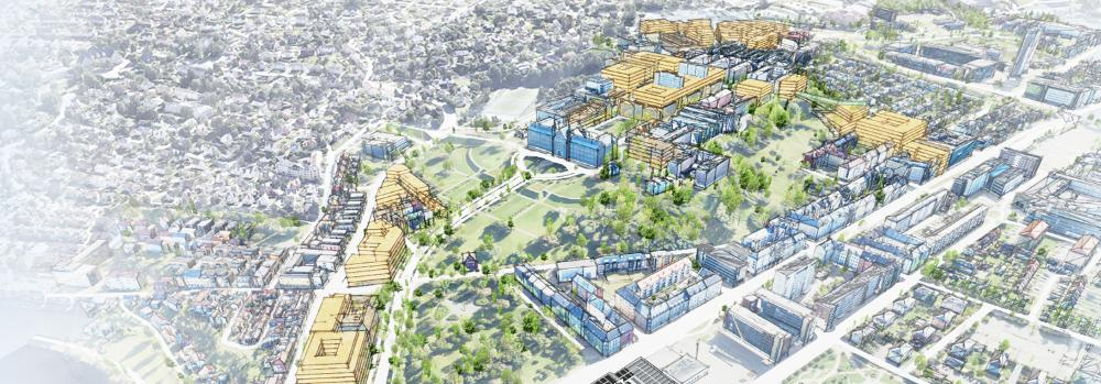 Skisse over fremtidig campus i Trondheim.