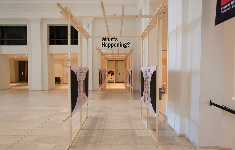 """Utstillingen """"What's Happening?"""" Statens Museum for Kunst, København, 2015. Kurator: Birgitte Anderberg. Foto: SMK Foto."""