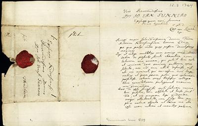 Carl von Linnés brev 12. mars 1764 til Gunnerus. Brevark og segl. Foto: NTNU Universitetsbiblioteket