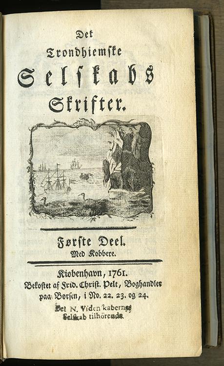 DKNV, Skrifter første bind 1761. Foto: NTNU Universitetsbiblioteket