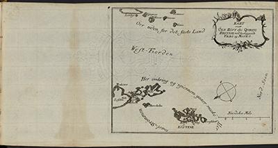 DKNVS Skrifter, tegnet kart over Røst, ytre Lofoten og Vestfjorden. Foto: NTNU Universitetsbiblioteket