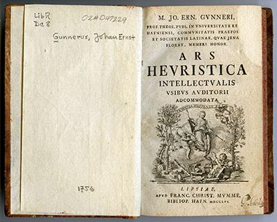 Gunnerus, Ars Hevristica 1756. Tittelblad. Foto: NTNU Universitetsbiblioteket
