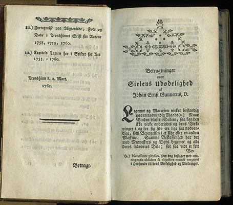 Gunnerus, Betragtninger over Sielens Udødelighed 1761. Tittelblad. Foto: NTNU Universitetsbiblioteket