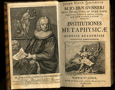 Gunnerus, Institutiones Metaphysicæ 1757. Tittelblad. Foto: NTNU Universitetsbiblioteket