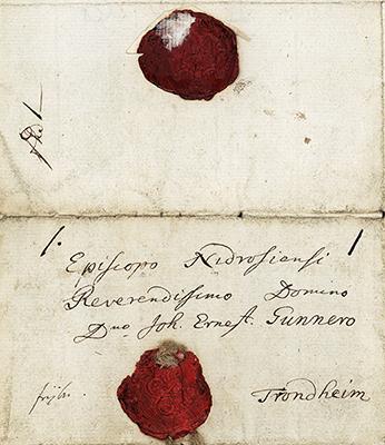 Gunnerus, brev med segl. Foto: NTNU Universitetsbiblioteket