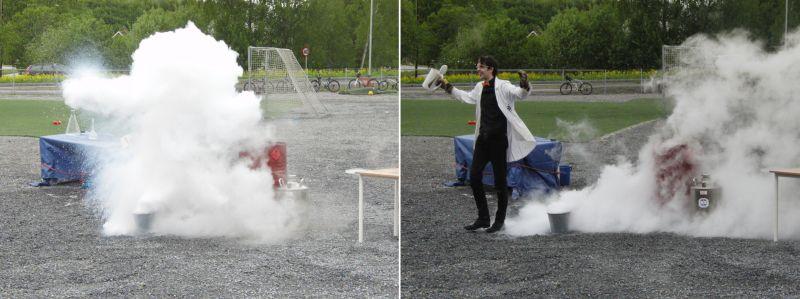 Forsker-Frederic i en sky av vanndamp laget av flytende nitrogen. Foto.