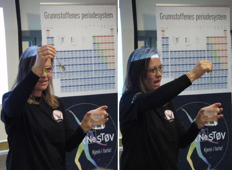 Collage. Unni viser skje av gallium før og etter den har smeltet i vann. Foto.