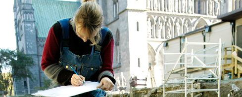 Archaeologist at work outside the Nidaros cathedral in Trondheim