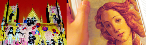 Collage: Art projection on the Nidaros cathedral, and art history book.
